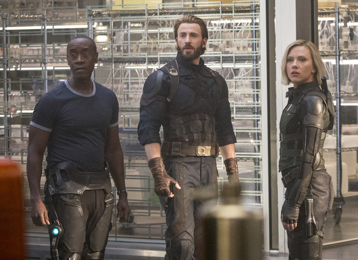 Don Cheadle, Chris Evans, and Scarlett Johansson in Avengers: Infinity War.