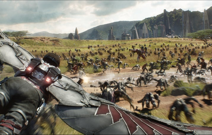 A battle scene in Wakanda in Avengers: Infinity War.