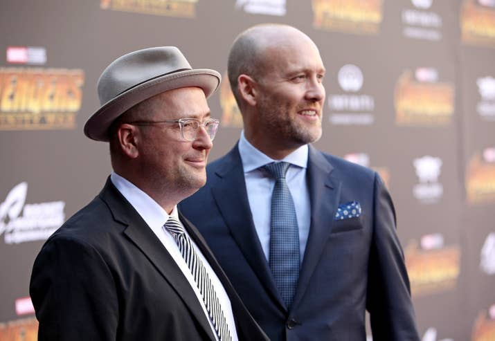 Christopher Markus and Stephen McFeely at the Los Angeles global premiere for Avengers: Infinity War.