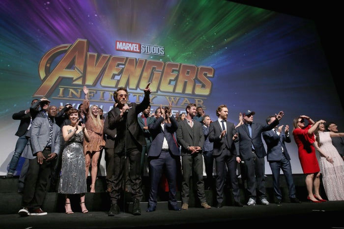 The cast and crew of Avengers: Infinity War at the Los Angeles global premiere on April 23, 2018.