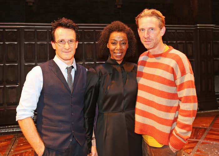 Noma Dumezweni with Jamie Parker (left) and Paul Thornley backstage following the press preview of Harry Potter and the Cursed Child at the Palace Theatre in London, 2016.