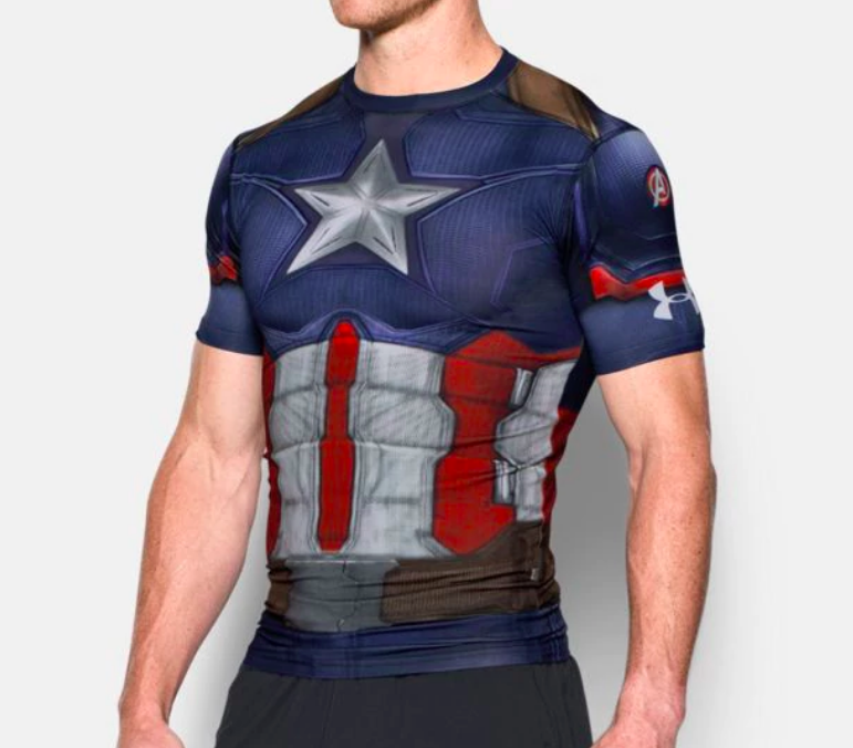 Cool Mens Graphic Tee Full Sleeve Captain America Compression Workouts Tops