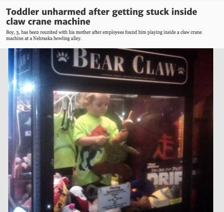 A kid getting stuck in a claw machine: