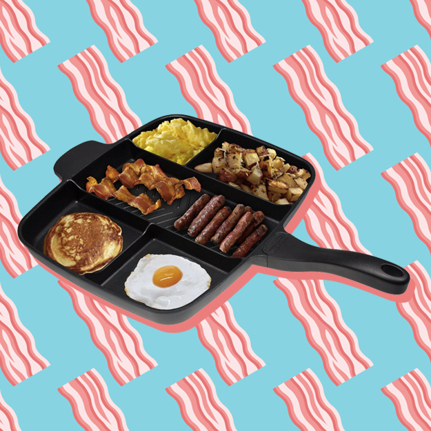 a pan with six compartments, each with a different breakfast item