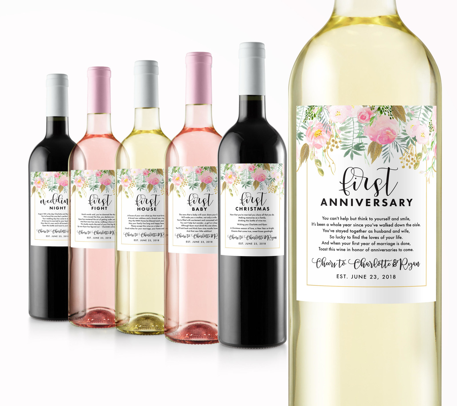 """wine bottles with different labels of """"firsts"""""""