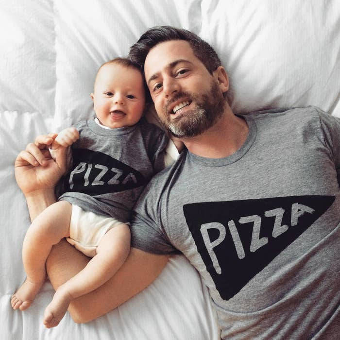 aa5cde21 A pair of matching tees proving that the pepperoni doesn't fall far from  the pizza.