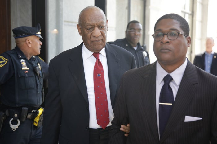 Bill Cosby exits the courthouse after the verdict was read on April 26, 2018.