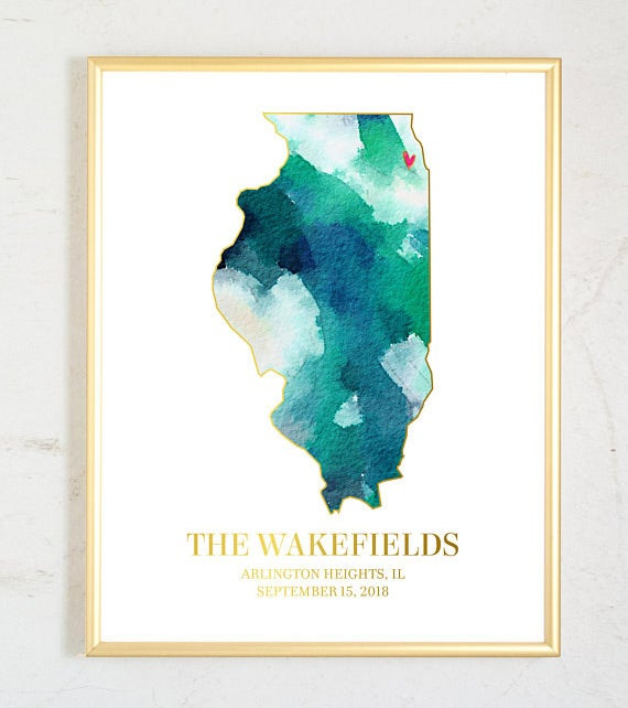 """watercolor painting of illinois with """"the wakefields"""" and a place and date listed below"""