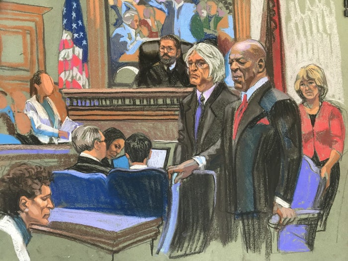 Bill Cosby listens as the verdict is read aloud in court on April 26, 2018.