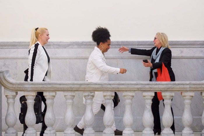 From left: Bill Cosby accusers Caroline Heldman, Lili Bernard, and Victoria Valentino react after the guilty on all counts verdict on April 26, 2018.