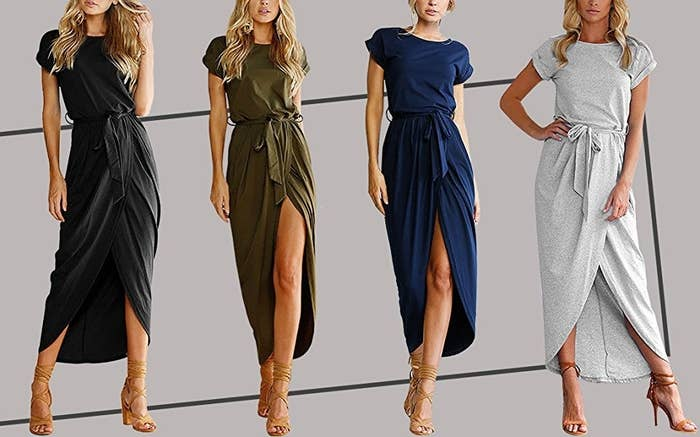 """Promising review: """"Buy this dress now! LOVE. It is extremely comfortable. The style is simple yet easy to accessorize. I might even throw a pair of leggings on when I don't want the slit. Basically, I want to buy this dress in every color!"""" —Valerie CintulaGet it from Amazon for $9.99+ (available in sizes S–XL and four colors)."""