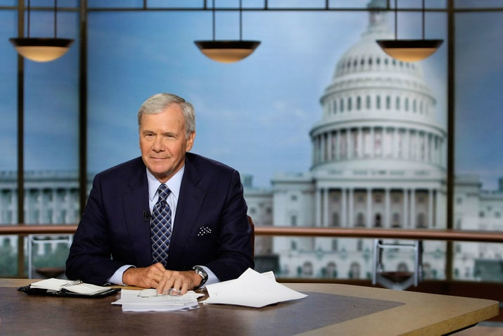 Tom Brokaw pauses during a taping of Meet the Press in 2008.