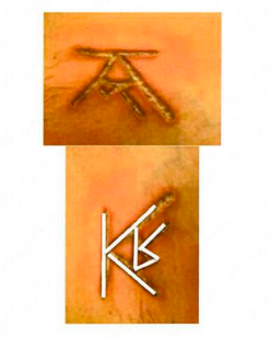 The branding on DOS members showing Keith Raniere's initials.