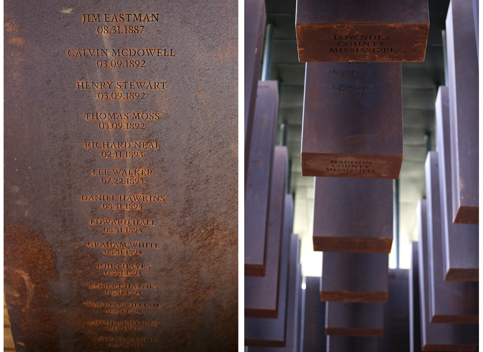 Left: The name of each lynching victim is accompanied by the date of their death. Right: Each steel monument is approximately six feet tall and hangs from the memorial ceiling.