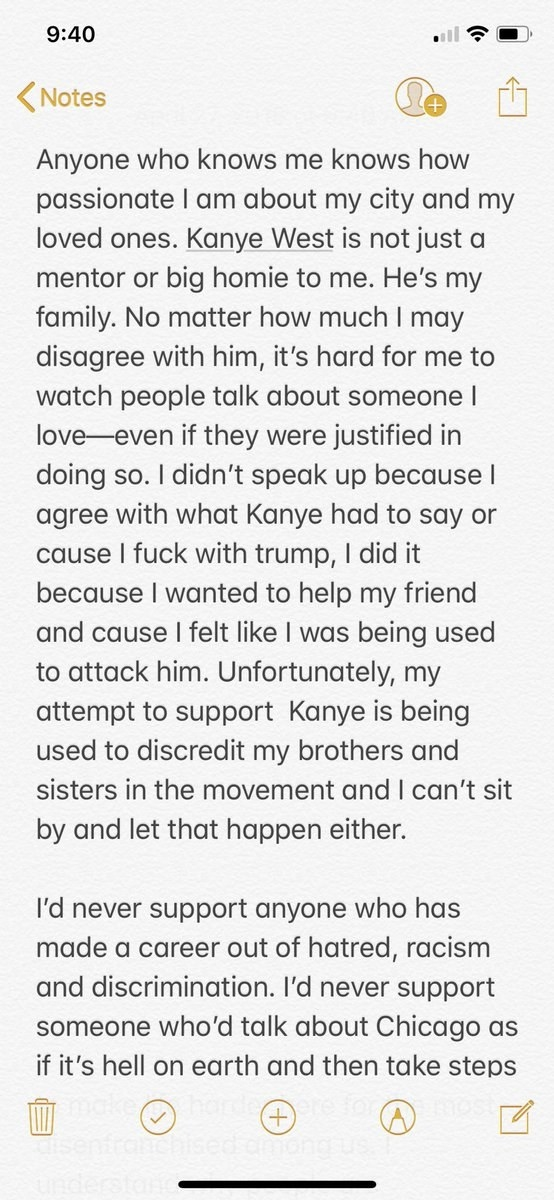 """""""I didn't speak up because I agree with what Kanye had to say or cause I fuck with Trump, I did it because I wanted to help my friend and cause I felt like I was being used to attack him,"""" Chance wrote."""