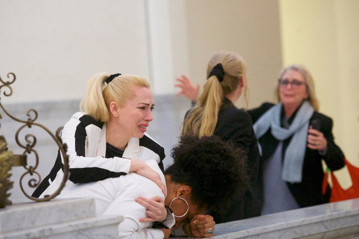 Bill Cosby accusers Caroline Heldman (left), Lili Bernard, and Victoria Valentino outside the courtroom after Cosby was found guilty in his sexual assault retrial April 26 at the Montgomery County Courthouse in Norristown, Pennsylvania.