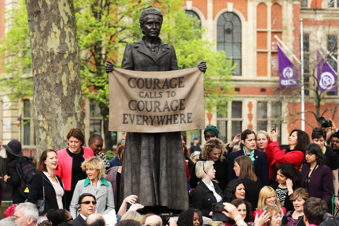 A statue in honor of the first woman suffragist, Millicent Fawcett, is unveiled during a ceremony in Parliament Square on April 24 in London.