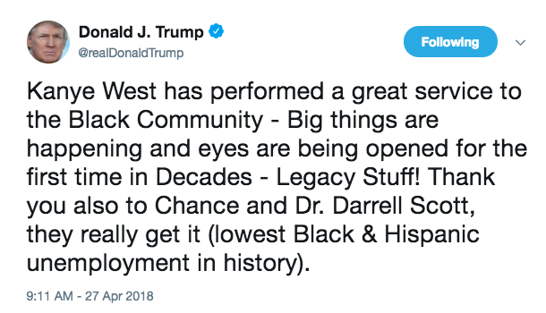 """On Friday morning, the president praised Kanye for doing a """"great service to the Black Community"""" by apparently announcing his love for Trump. He also spoke of """"big things"""" happening in the black community and said eyes were """"being opened for the first time in Decades."""" Trump also thanked another entertainer: Chance the Rapper."""