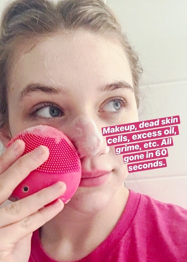 """My face, mid-cleanse, with text """"makeup, dead skin cells, excess oil, grime, etc. All gone in 60 seconds"""""""