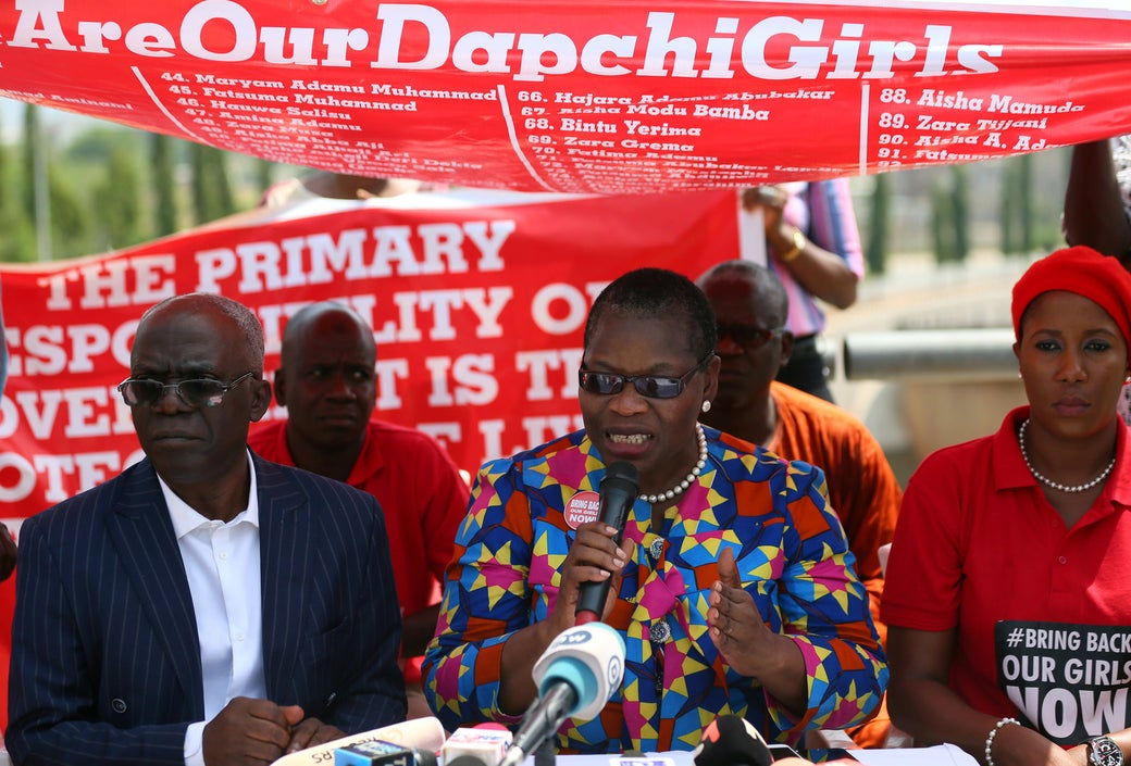 Oby Ezekwesili, #BringBackOurGirls campaigner, speaks during a news conference on the abducted Dapchi and Chibok girls in Abuja, Nigeria, in March.