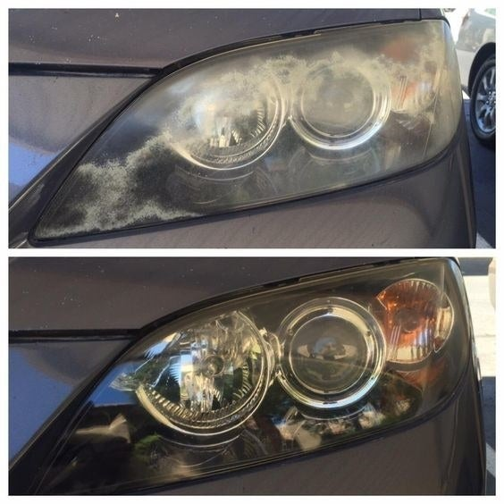 """Promising review: """"My friend told me he used this product and I should give it a try. My car is fifteen years old and still has the original headlights, I had only ever cleaned them with soap. Needless to say, I hit a lot of stuff while driving at night and I couldn't see more than two feet in front of me. But after just one use of wipe new, I am able to see at night and realized I am still a horrible driver. But hell, at least I can see and my headlights look very close to brand new! I would recommend this to anyone with dingy headlights."""" —SpunkyLabrecheGet it from Amazon for $12.72."""