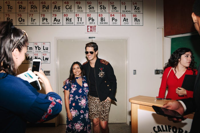 Milo Yiannopoulos poses for photos with students at the California College Republicans Convention at the University of California, Santa Barbara, on April 7, 2018.
