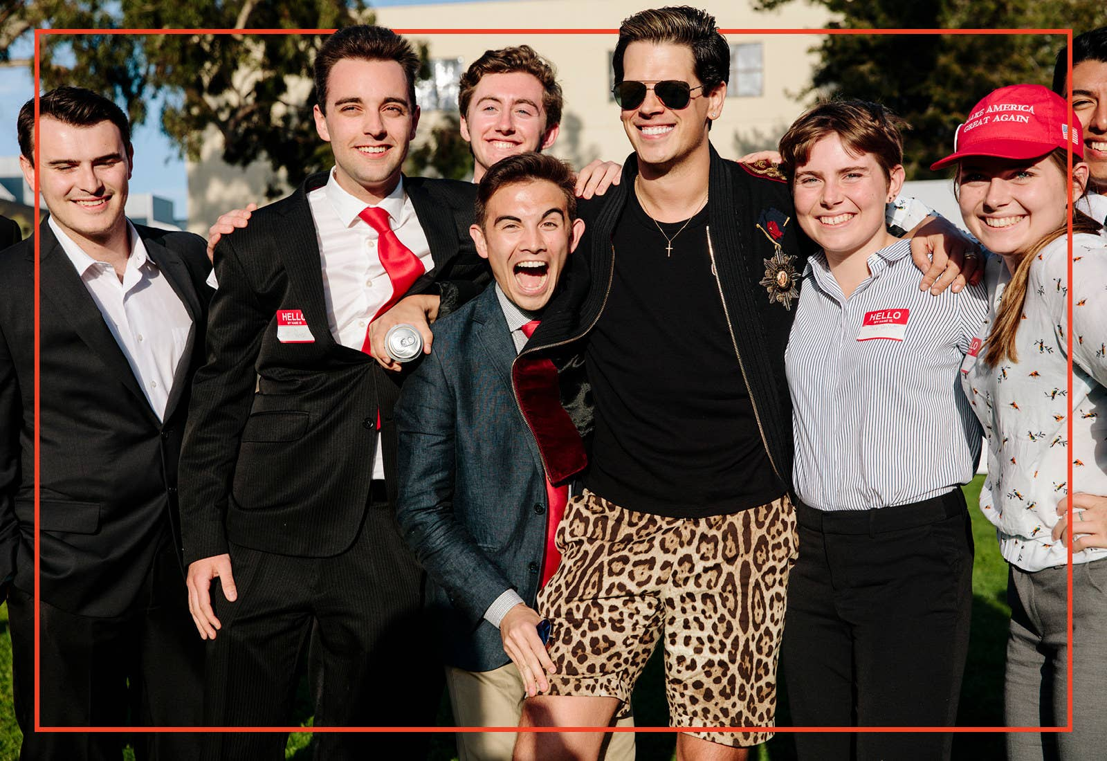 Members of the California College Republicans Cal Poly Chapter pose for a group photo with political commentator Milo Yiannopoulos.