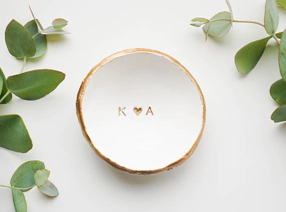 """dish that says """"k <3 A"""""""