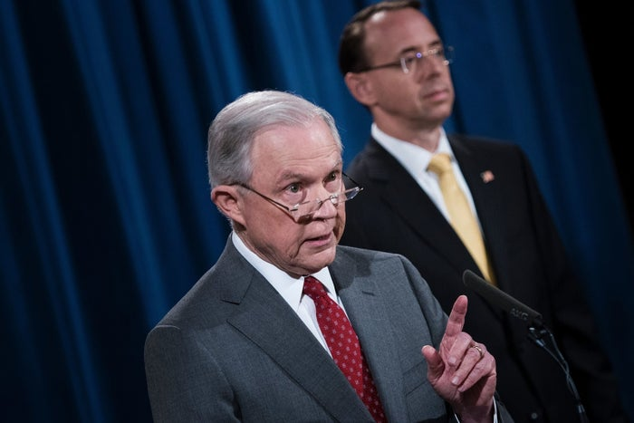 Attorney General Jeff Sessions, with Deputy Attorney General Rod Rosenstein, vows to crack down on government leaks at an August 2017 press briefing.