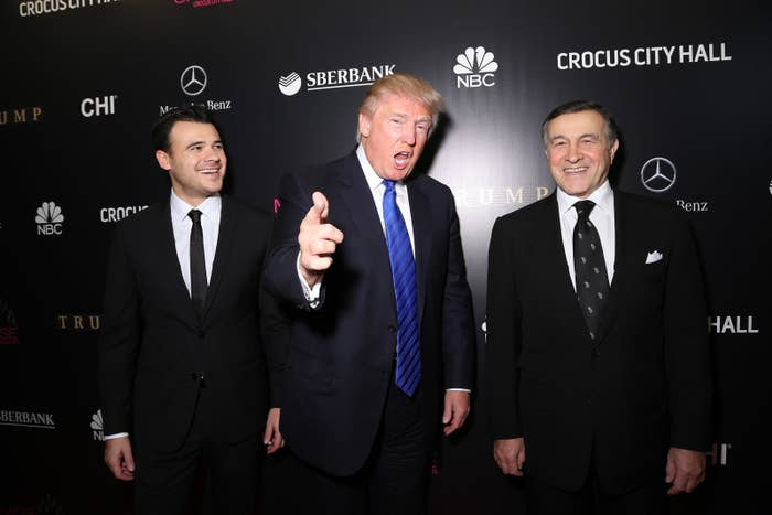 Emin Agalarov, Donald Trump, and Aras Agalarov attend the red carpet at Miss Universe Pageant Competition 2013 on November 9, 2013 in Moscow, Russia.