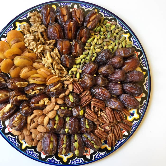 If you're invited for an iftar potluck and have no idea what to bring/too exhausted to cook...this plate is the perfect option. Add dried fruits and nuts to make it your own. You can also make this extra fancy with chocolate-covered dates.