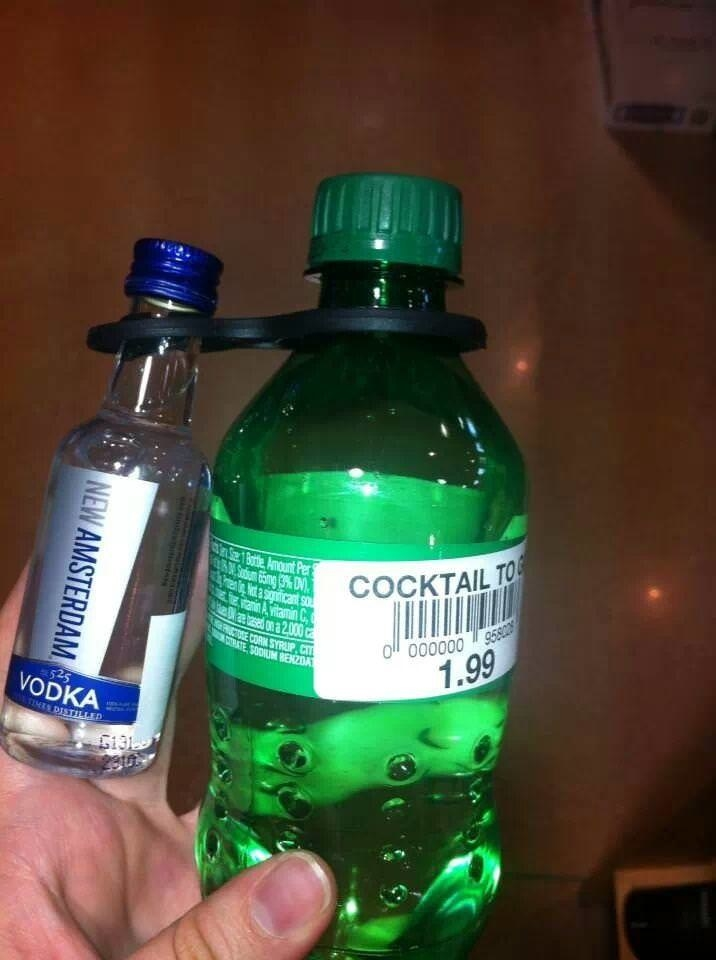 A bottle of Sprite bound with a mini bottle of vodka for $1.99