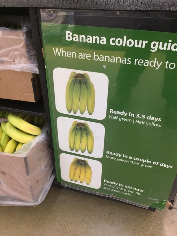 A banana color guide in a produce section