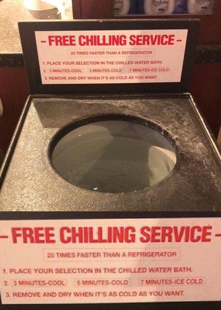 "A ""free chilling service"" machine"