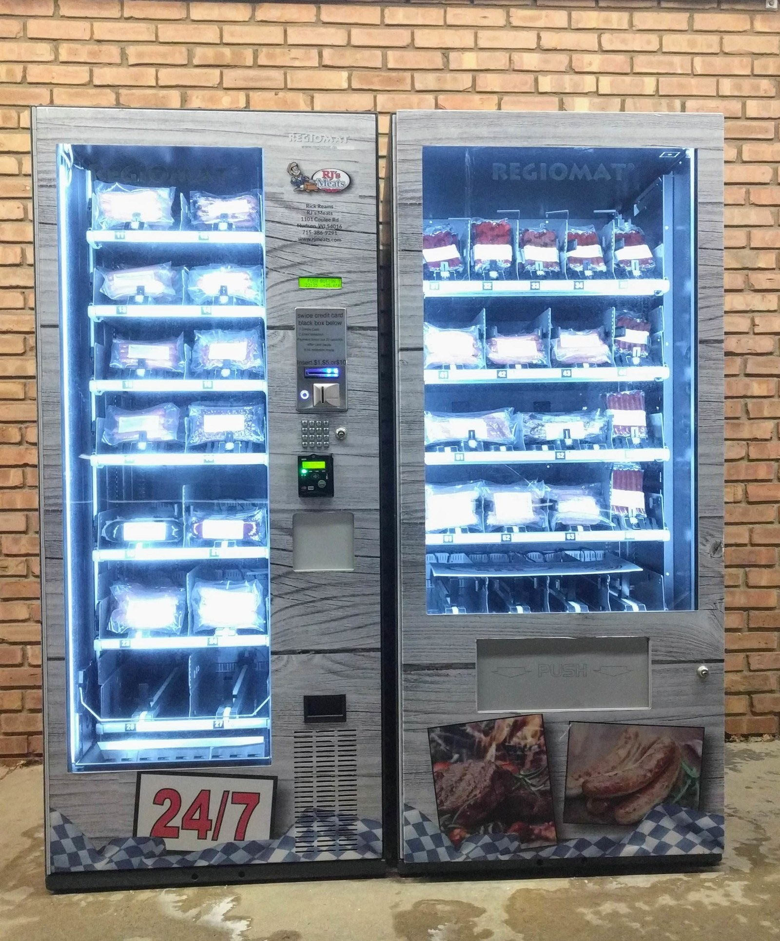 An outdoor meat vending machine