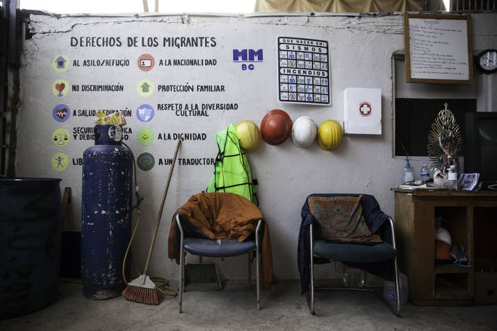 Rules are written on the wall of a shelter for migrants in Tijuana.