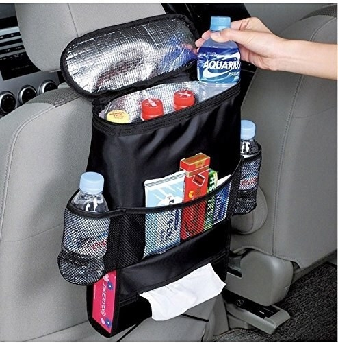 organizer with thermal inside, plus three outer pockets and two drink holders and a tissue box