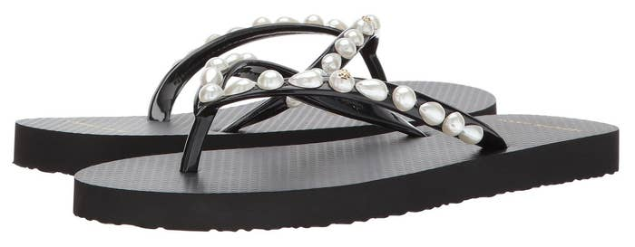 09eae3b99b8af8 Flip-flops embellished with pearls to take these rubber staples from basic  to beautiful!