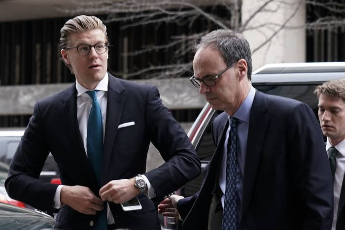 Alex van der Zwaan (left) arrives at the federal courthouse in Washington on April 3 with his lawyer William Schwartz.
