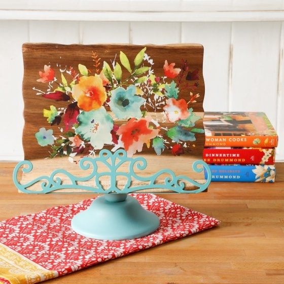 A Pioneer Woman cookbook stand for keeping the recipe legible and grease-free.