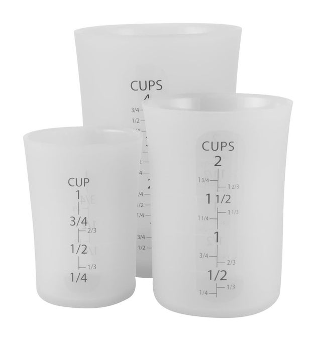 Flexible measuring cups to make pouring ingredients (wet and dry) so much easier.