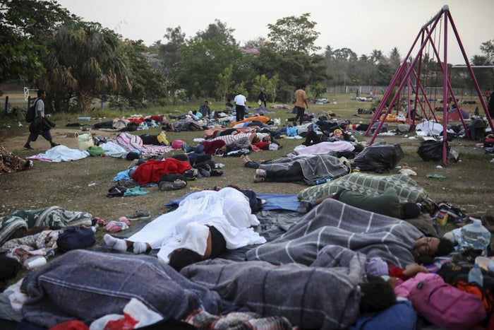 Dozens of Central American migrants traveling in a caravan sleep at a sports club in Matias Romero, Oaxaca, Mexico, on April 3.