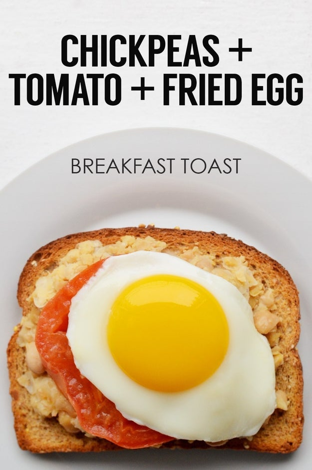 Mashed Chickpeas, Tomato, and Fried Egg Toast