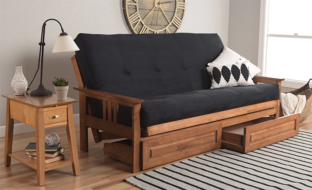 a futon with two drawers