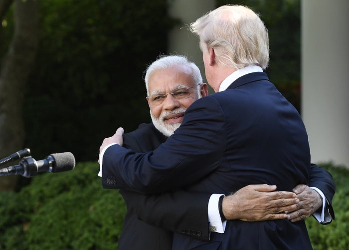 "Indian Prime Minister Narendra Modi hugs US president Donald Trump in the Rose Garden of the White House last June. Trump popularized using the term ""fake news"" to describe unfavorable media coverage since taking office."
