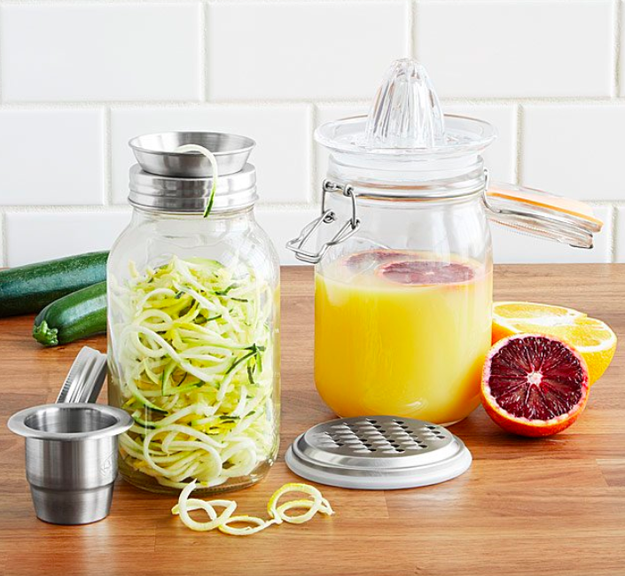 Multi-tool mason jars that consolidate spiralizing, juicing, and grating into one easy (and easily storable) contraption.