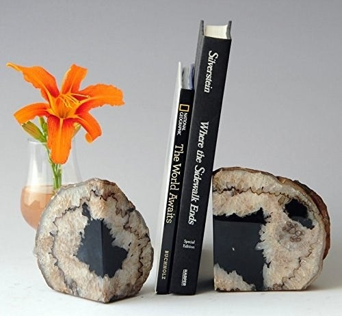 two bookends holding up books