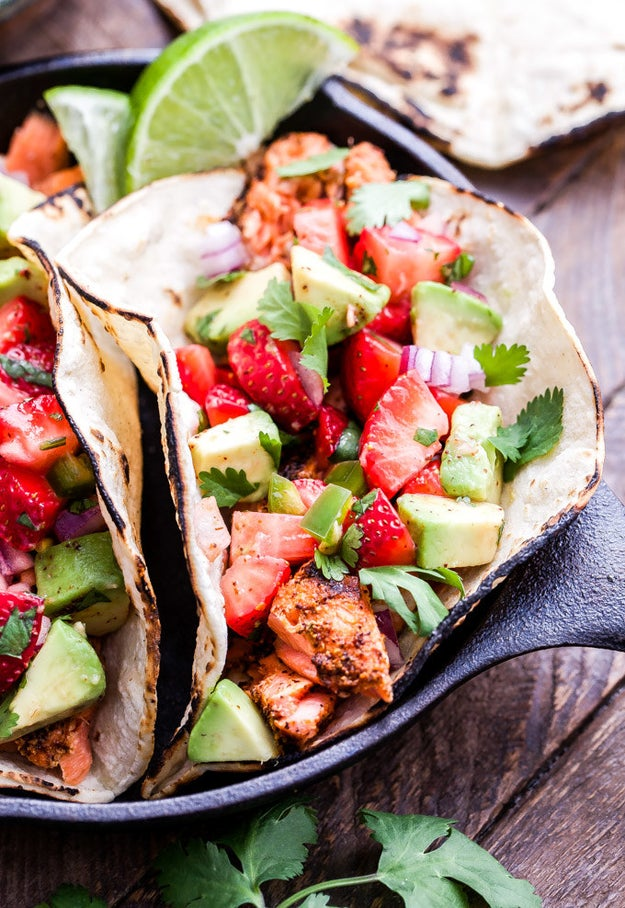 Grilled Salmon Tacos with Strawberry Avocado Slaw