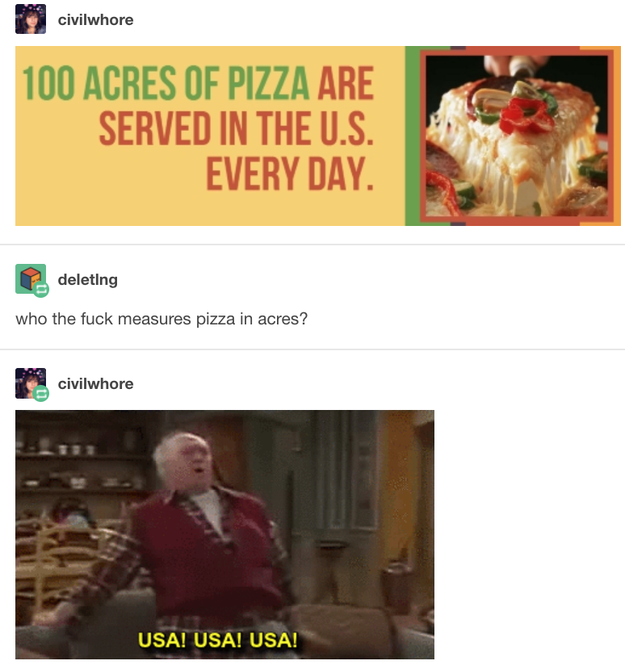 On pizza: