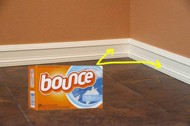 The Bounce box with arrows pointing to baseboards